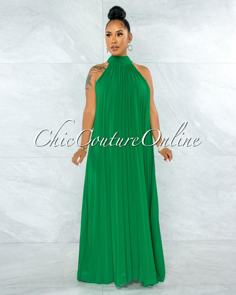 Rabah Kelly Green Halter Maxi Pleated Dress
