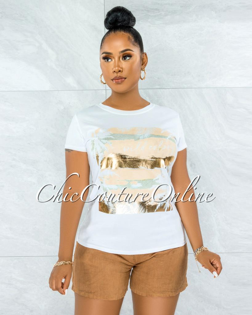 Seneca White Nude Gold Graphic T-Shirt