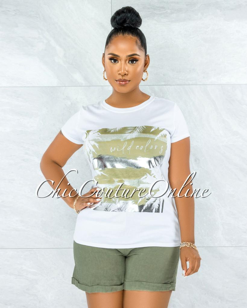 Seneca White Olive Silver Graphic T-Shirt