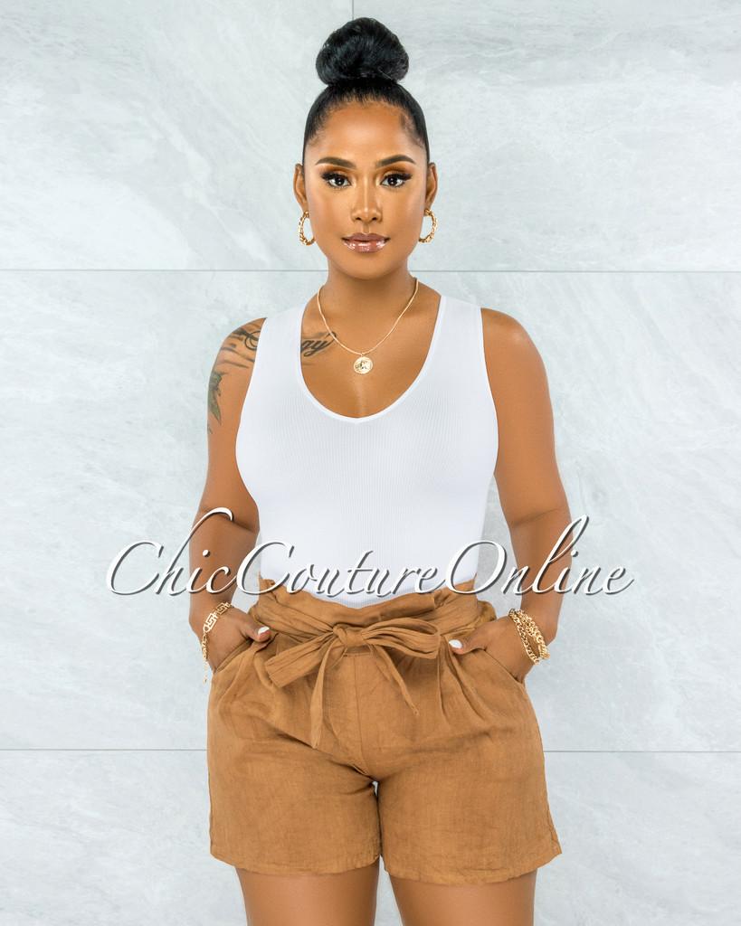 Delgado Mocha Paper-Bag LINEN Shorts