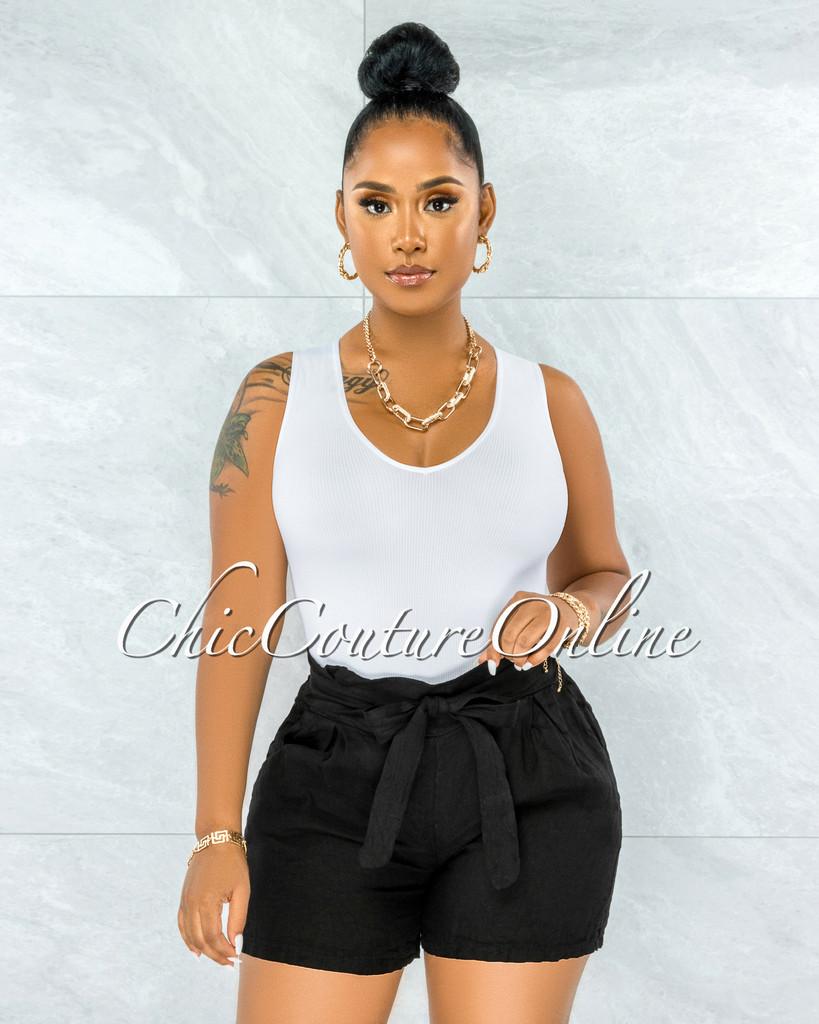 Delgado Black Paper-Bag LINEN Shorts