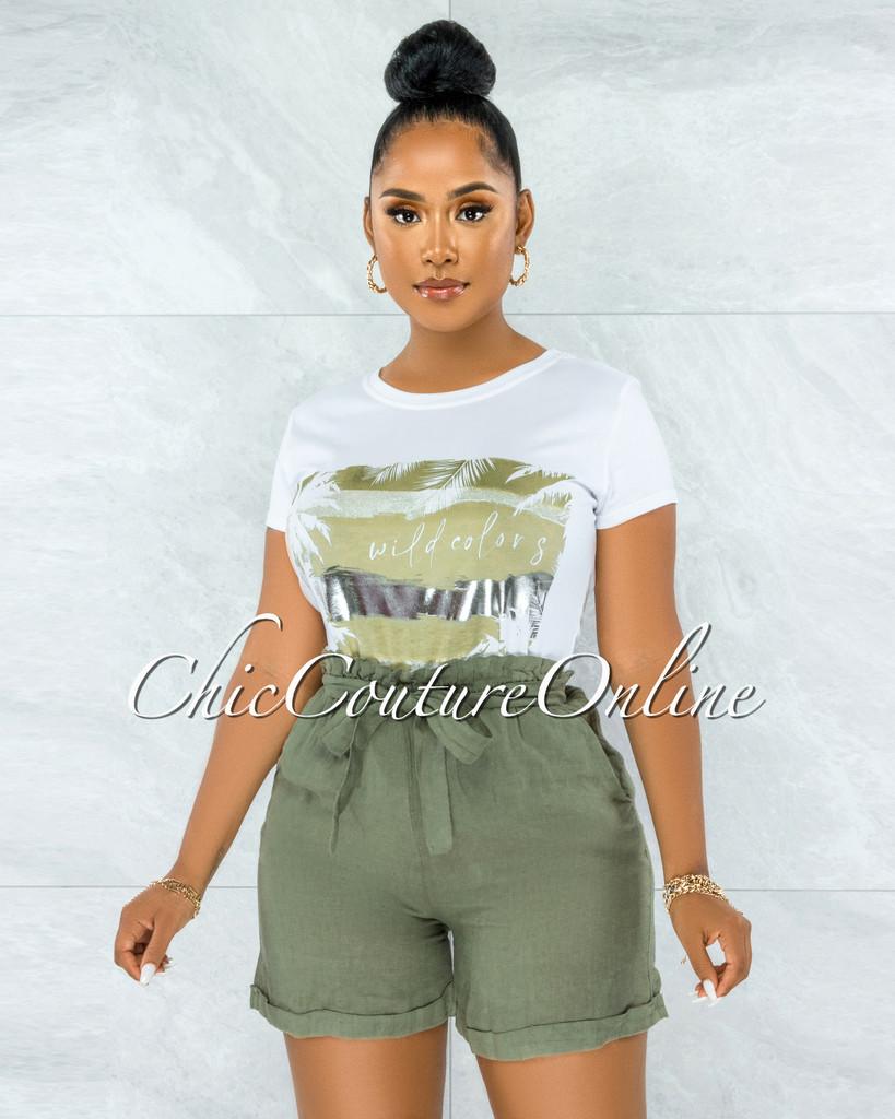 Solaina Olive Green Paper-Bag LINEN Shorts