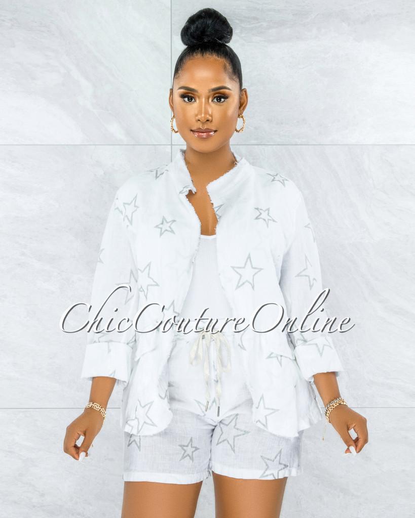 Virtue White Silver Shimmer Stars Jacket & Shorts LINEN Set