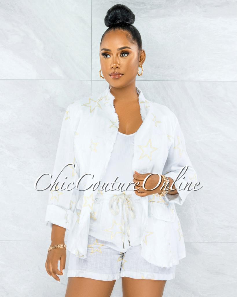 Virtue White Gold Shimmer Stars Jacket & Shorts LINEN Set
