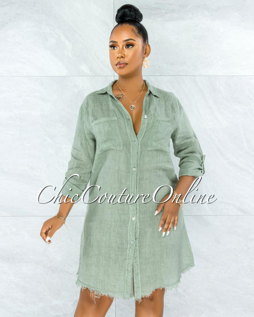 Cavender Sage Green Shirt LINEN Midi Dress