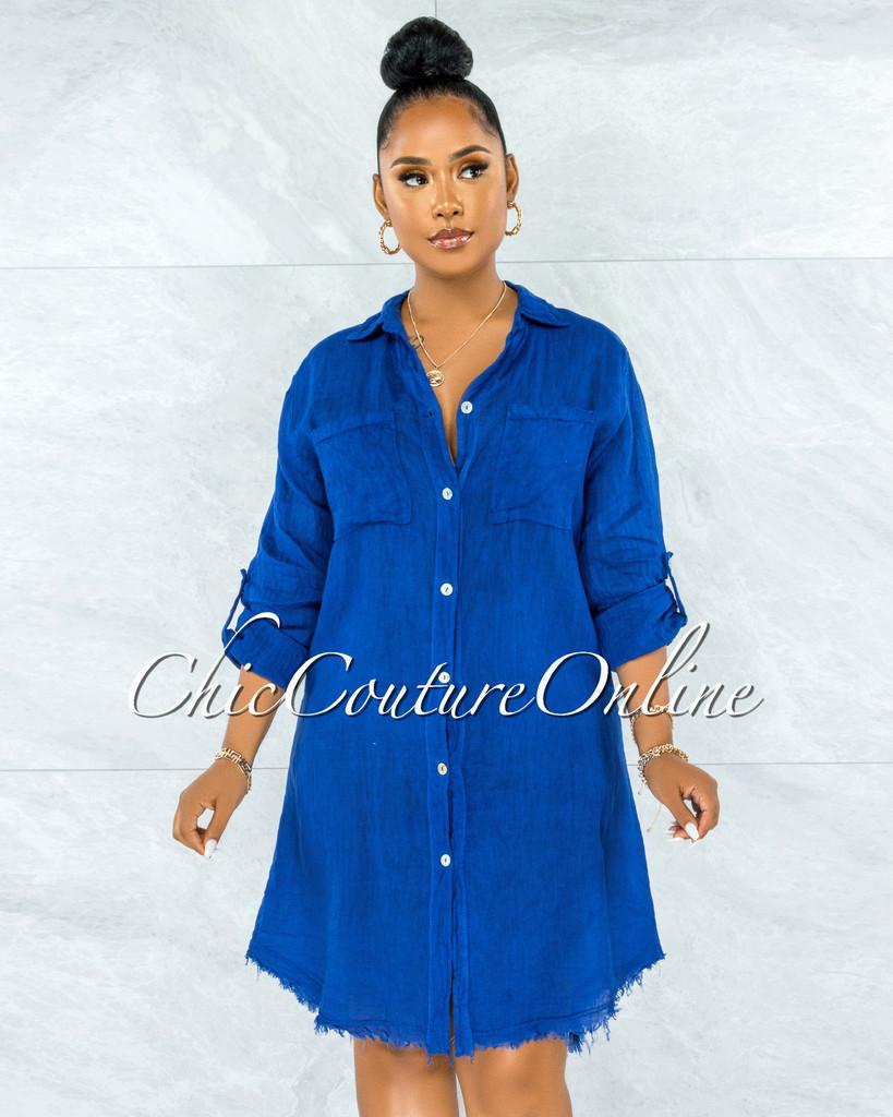 Cavender Royal Blue Shirt LINEN Midi Dress