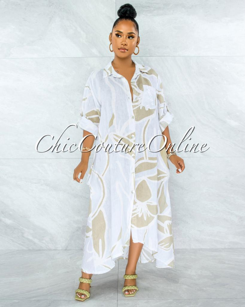 Deryl White Nude Sequins Pocket LINEN Hi-Lo Maxi Dress