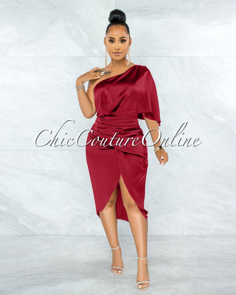 Babette Burgundy Draped Single Shoulder Ruched Midi Dress