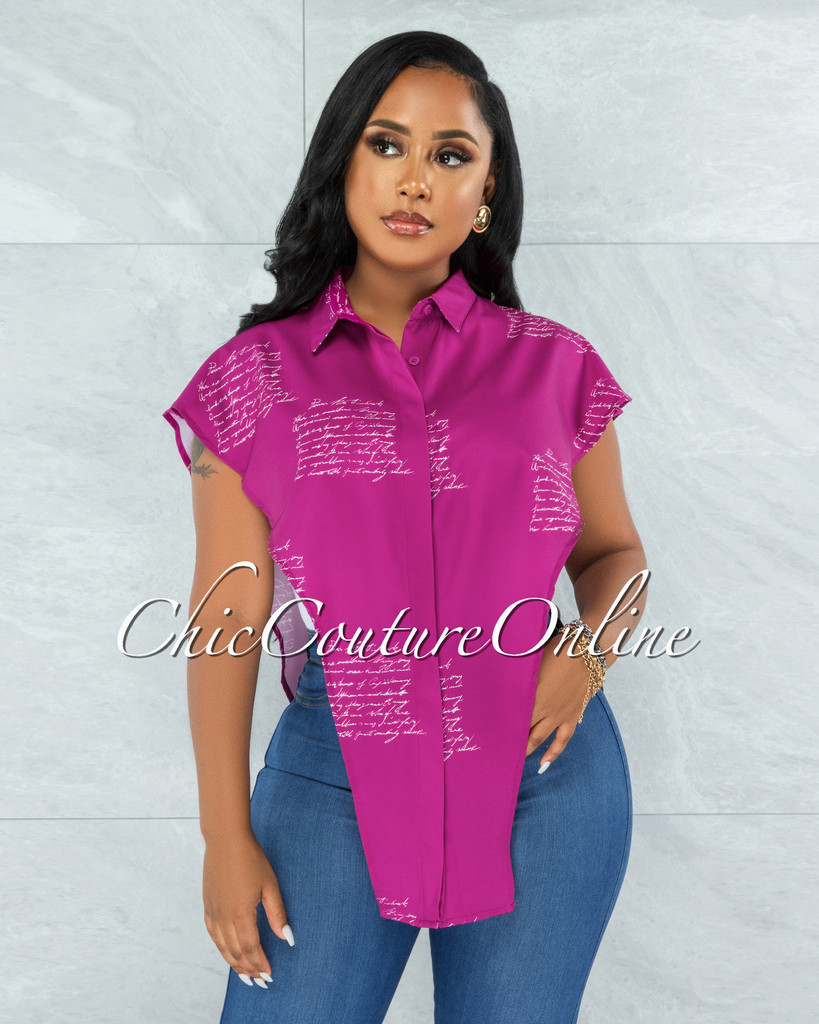 Padget Fuchsia White Handwriting Open Sides Top