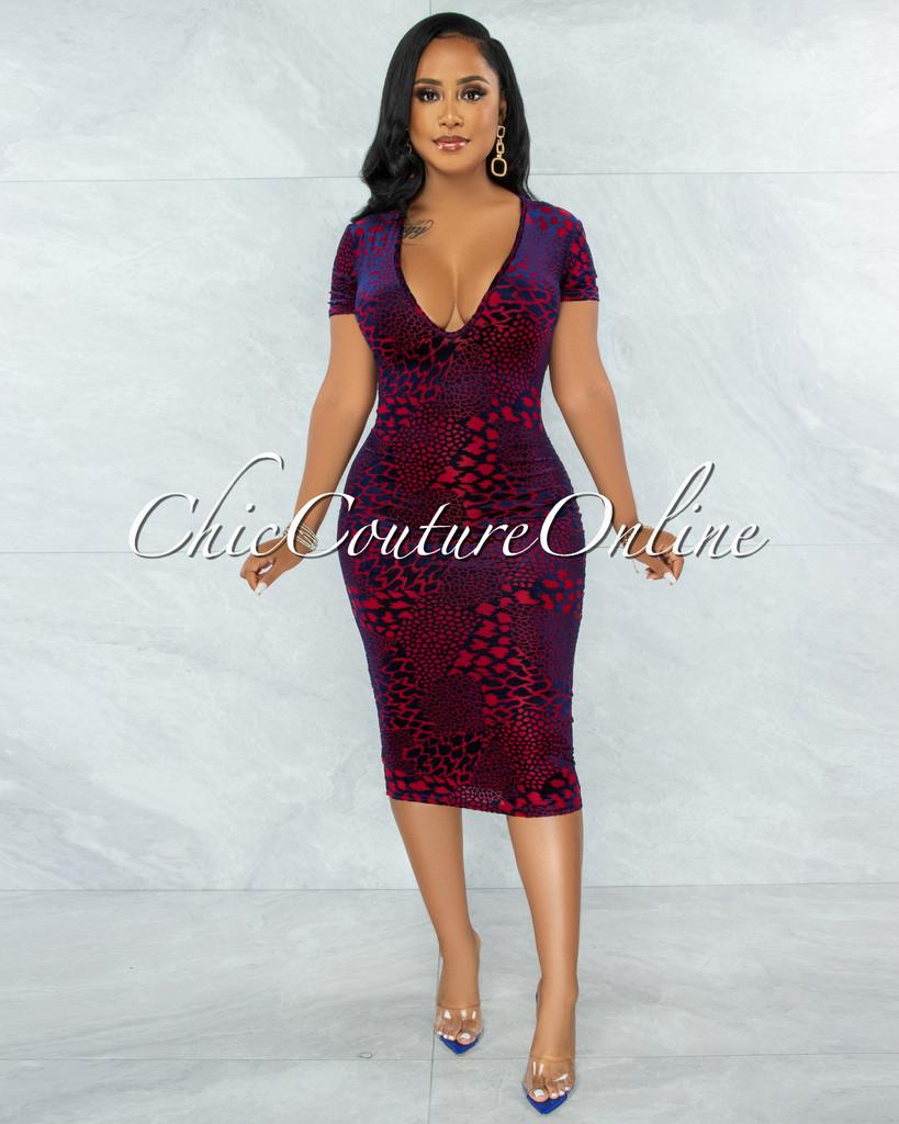 Penda Red Blue Velvet Print Sheer Midi Dress
