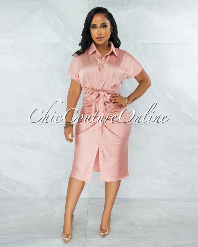Gustave Pink Draped Front Tie Shirt Midi Satin Dress