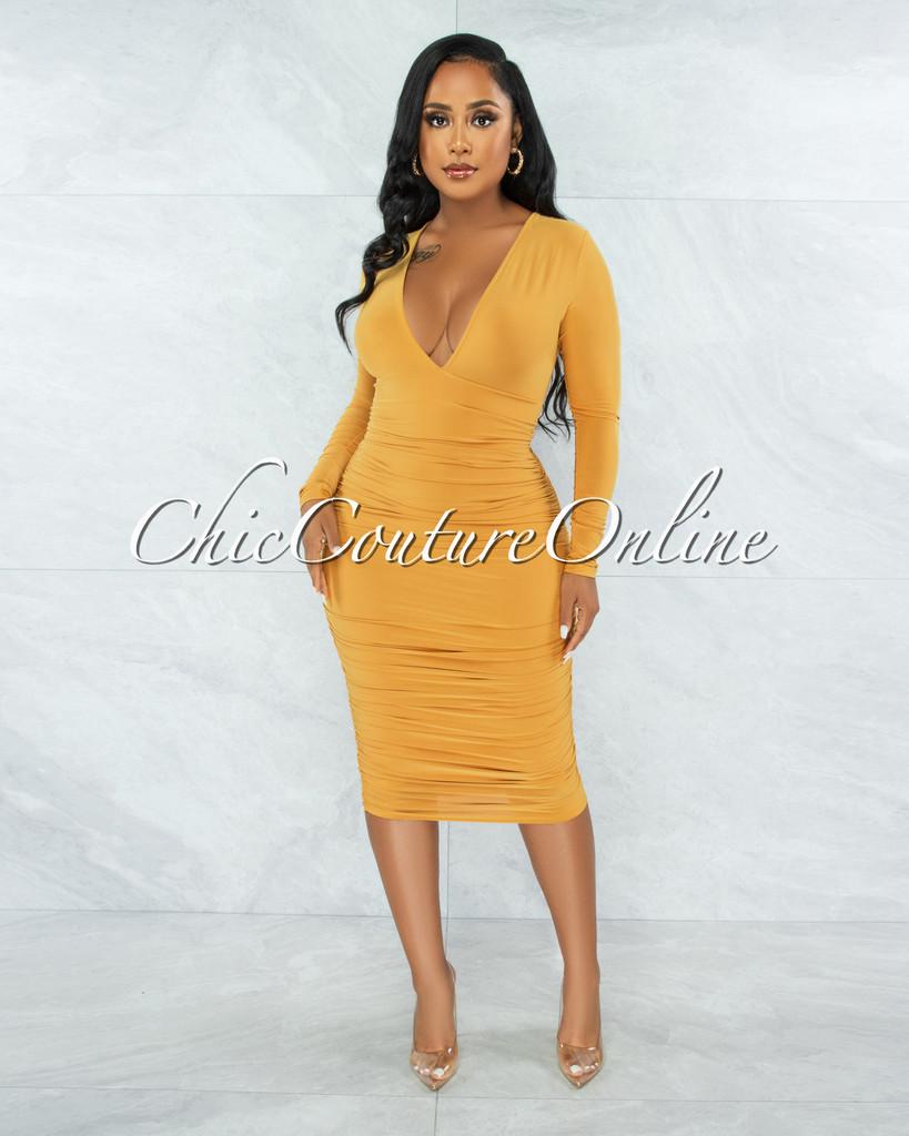 Babson Mustard Ruched Sides Deep-V Neckline Midi Dress