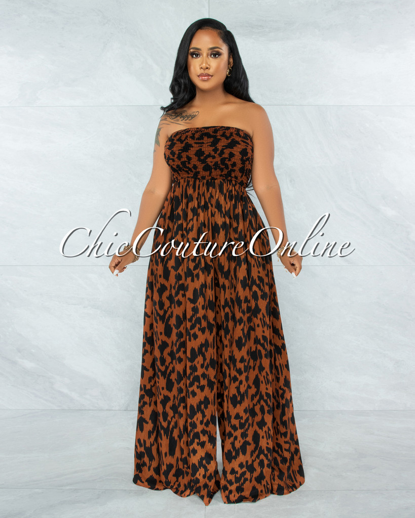 Perona Leopard Print Smocked Top Jumpsuit