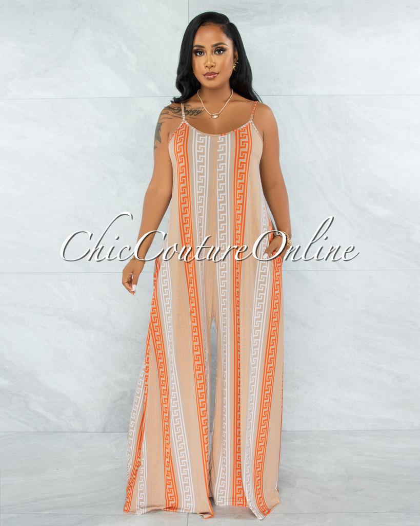 Halian Nude Orange Fret Print Wide Legs Jumpsuit