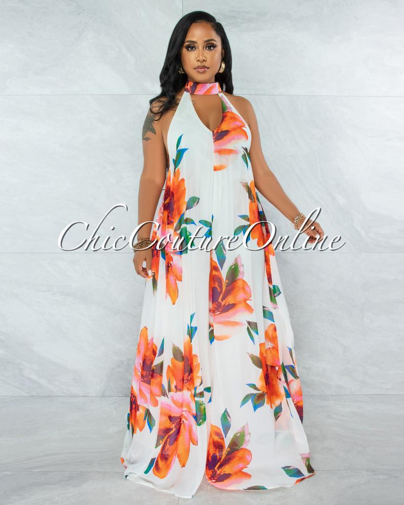 Barksdale White Floral Print Halter Jumpsuit