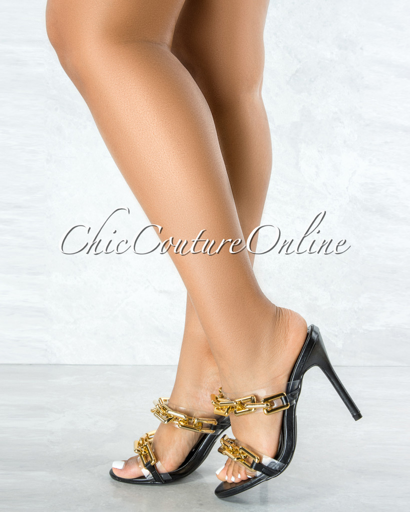 Roma Black Clear Strap Gold Link High Heels