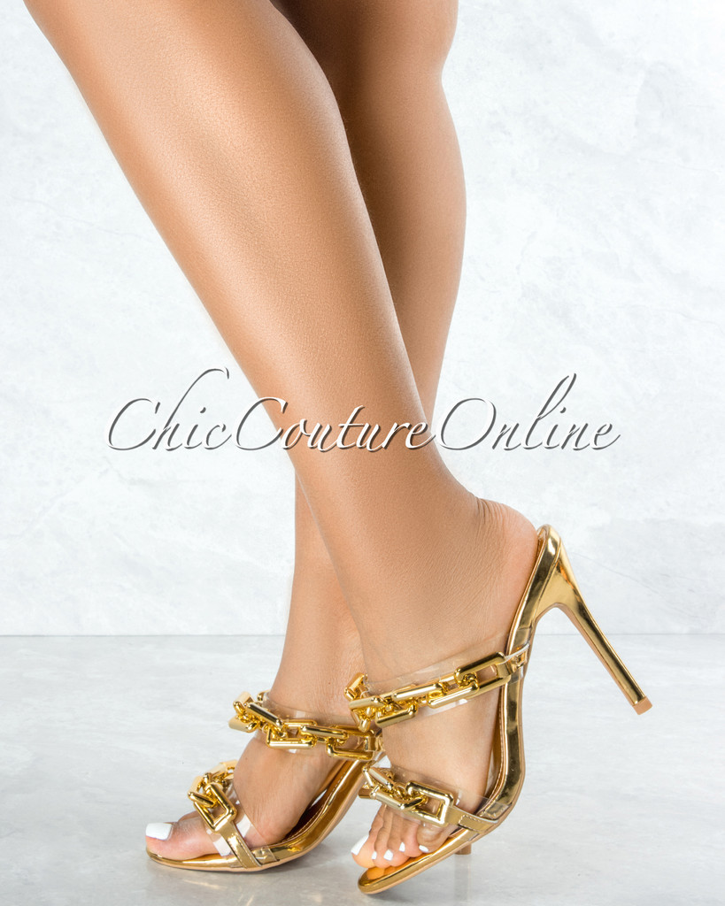Roma Gold Clear Strap Gold Link High Heels