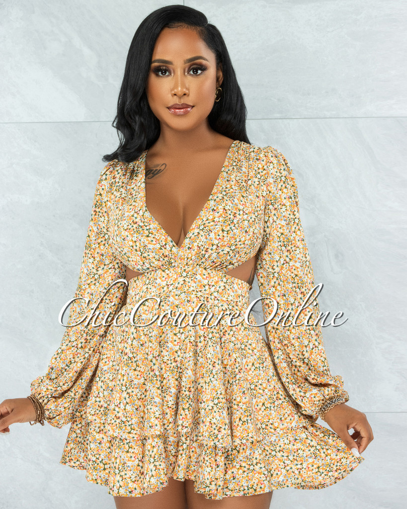 Ohela Mustard Floral Print Cut-Out Back Lace-Up Romper