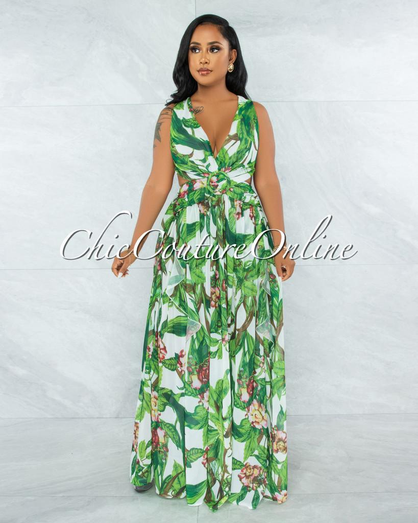 Amaury Green Leaf Print O-Ring  Ruffle Bodysuit Maxi Dress