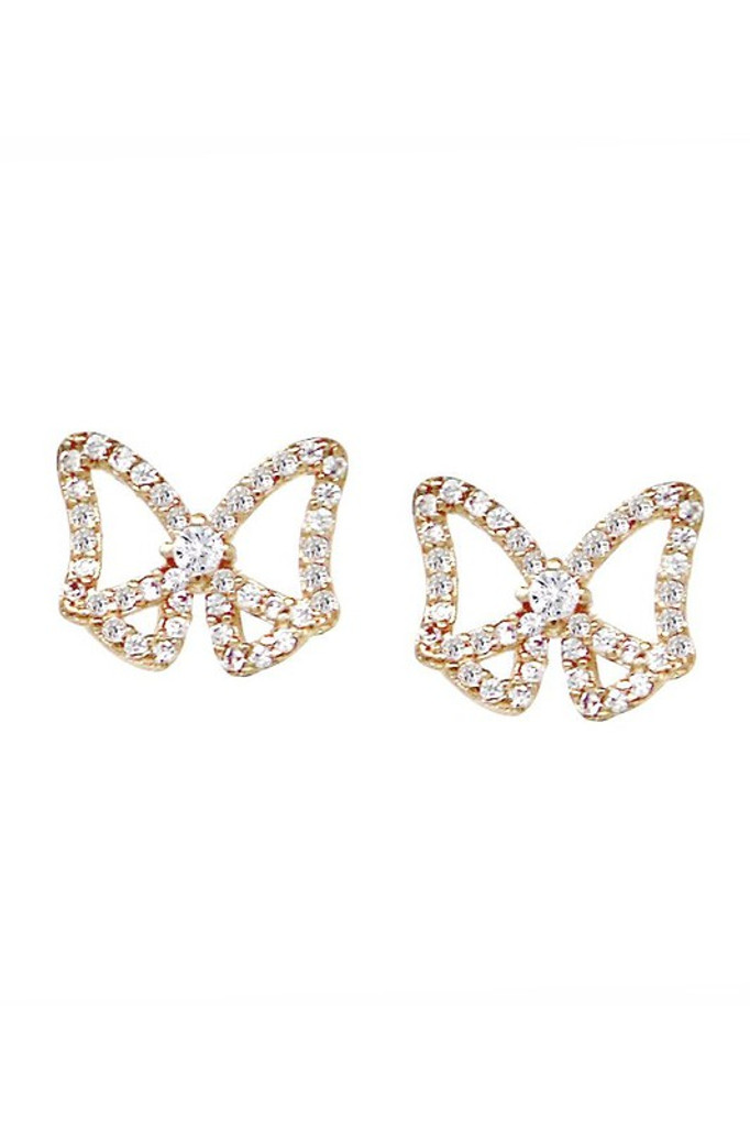 Tyler Gold Pavé Bow Stud Earrings
