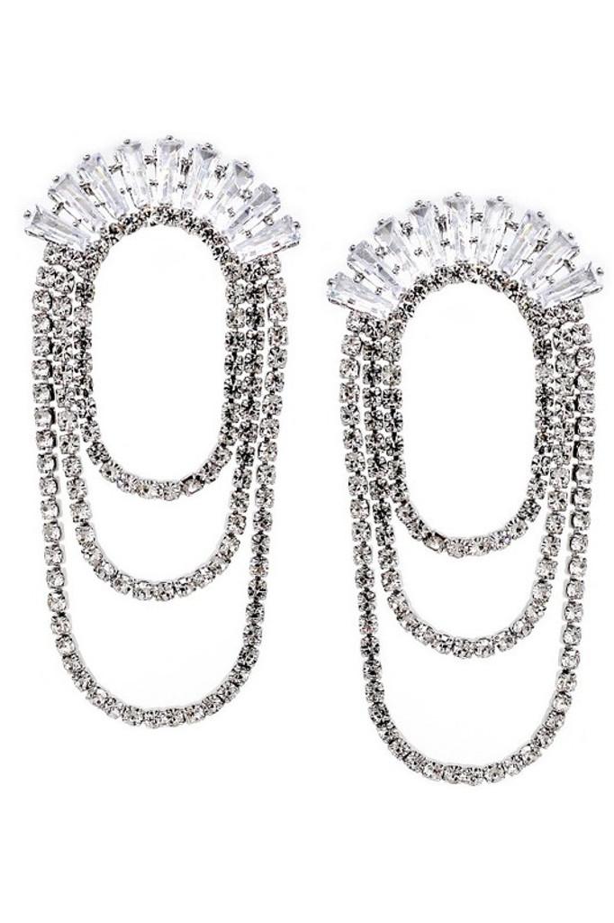 Layne CZ Fringe Rhinestone Layered Chain Drop Earrings
