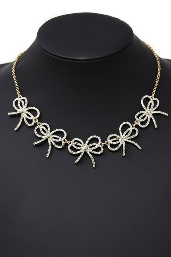 Loren Gold Pavé Ribbon Bow Statement Necklace