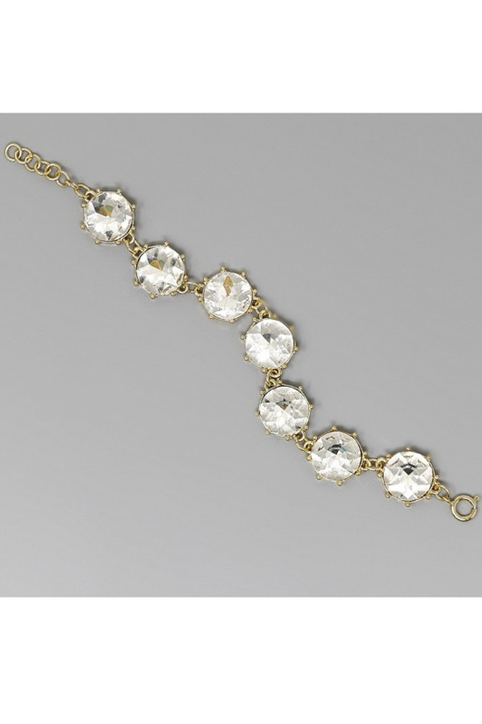 Georgia Gold Faceted Glass Stone Bracelet