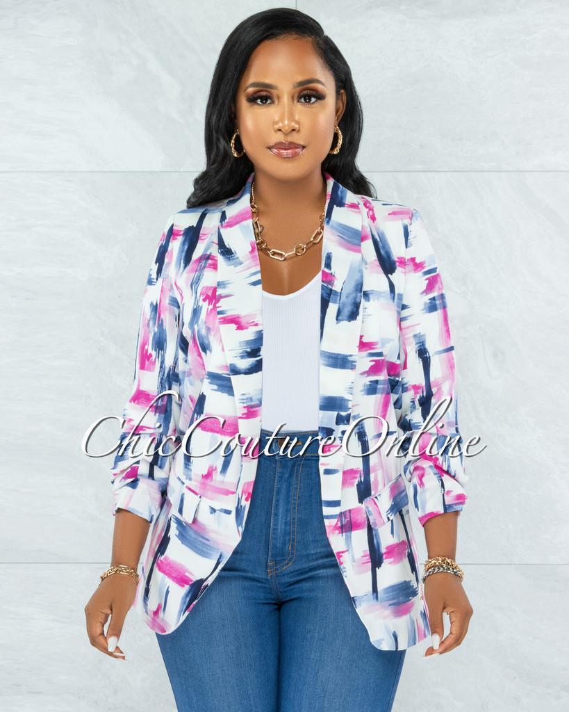 Cyrus White Blue Pink Print Boyfriend Long Blazer