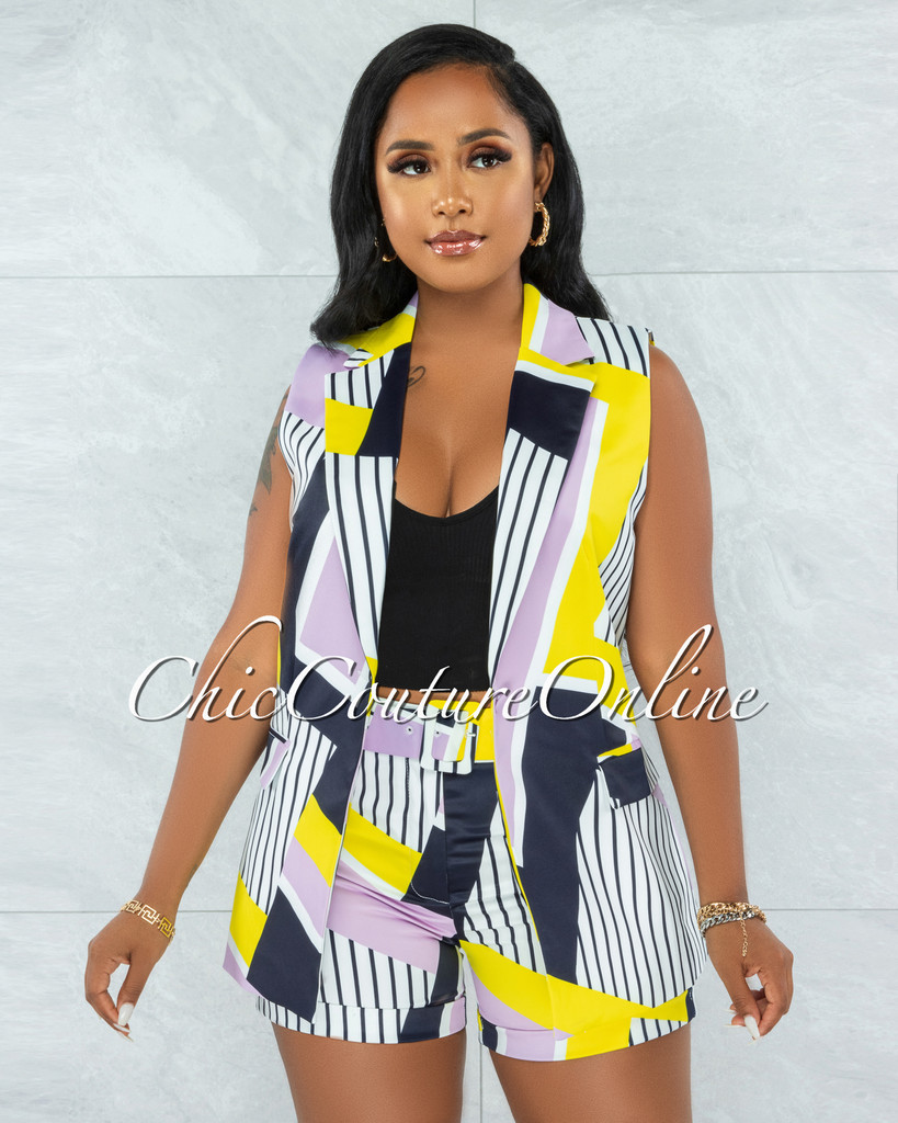 Creed White Yellow Purple Print Vest & Shorts Set