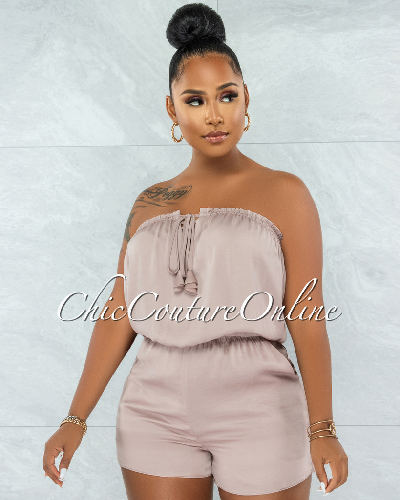 Elgan Nude Satin Strapless Lace-Up Romper