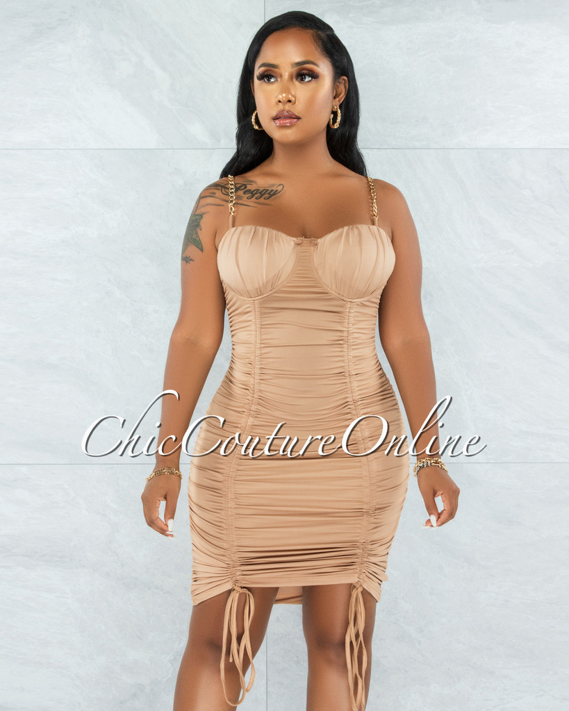 Iassen Nude Gold Link Straps Double Ruched Midi Dress
