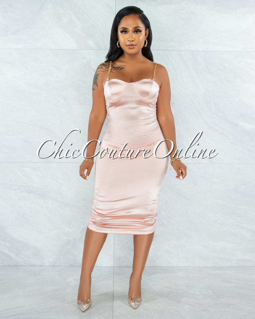 Kingswell Pink Gold Link Straps Ruched Satin Midi Dress