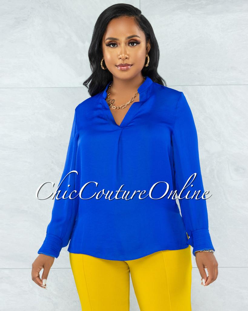 Zhen Royal Blue Long Sleeves Shift Blouse