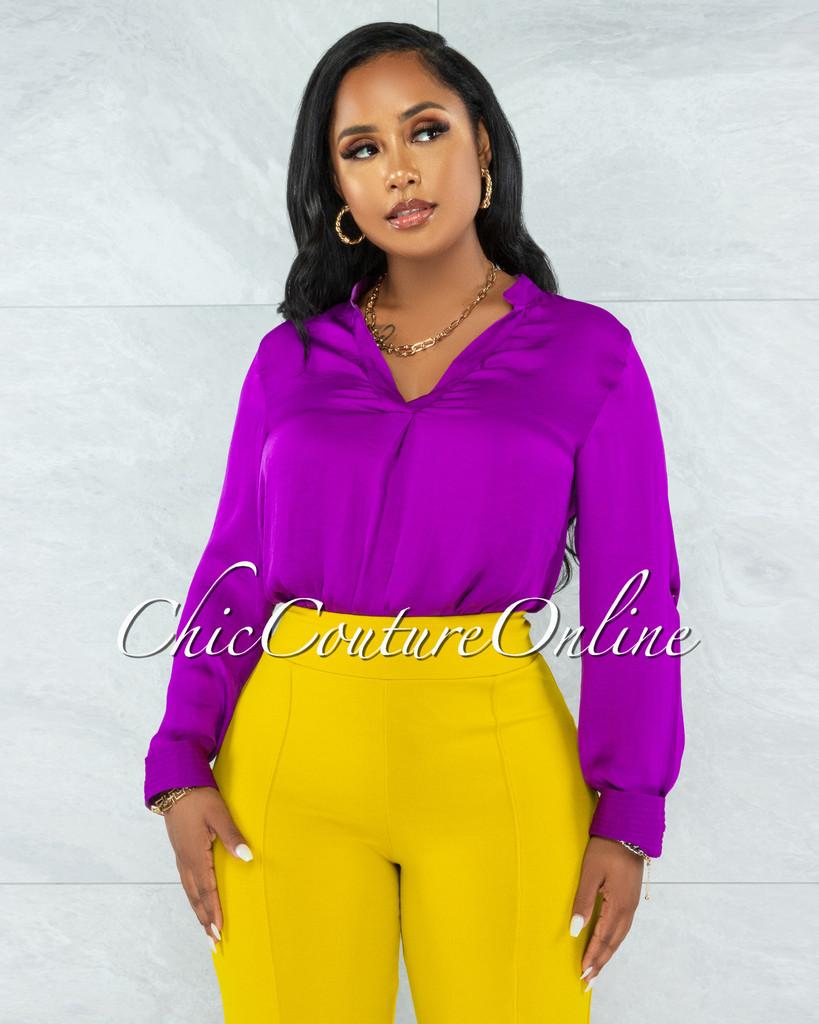 Zhen Purple Long Sleeves Shift Blouse