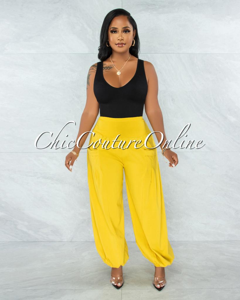 Yanaba Mustard Yellow Pleated Harem Pants