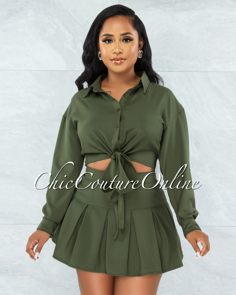 Levana Olive Green Front Tie Top & Pleated Mini Skirt Set