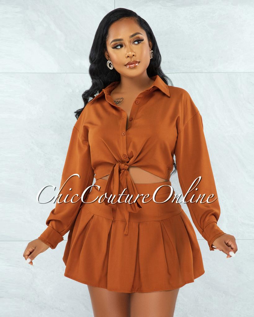 Levana Rust Front Tie Top & Pleated Mini Skirt Set