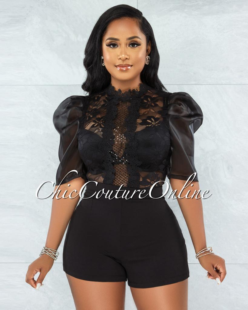 Ogenya Black Lace Sequins Sheer Top Tulle Sleeves Romper