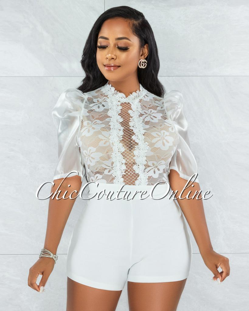 Ogenya Off-White Lace Sequins Sheer Top Tulle Sleeves Romper
