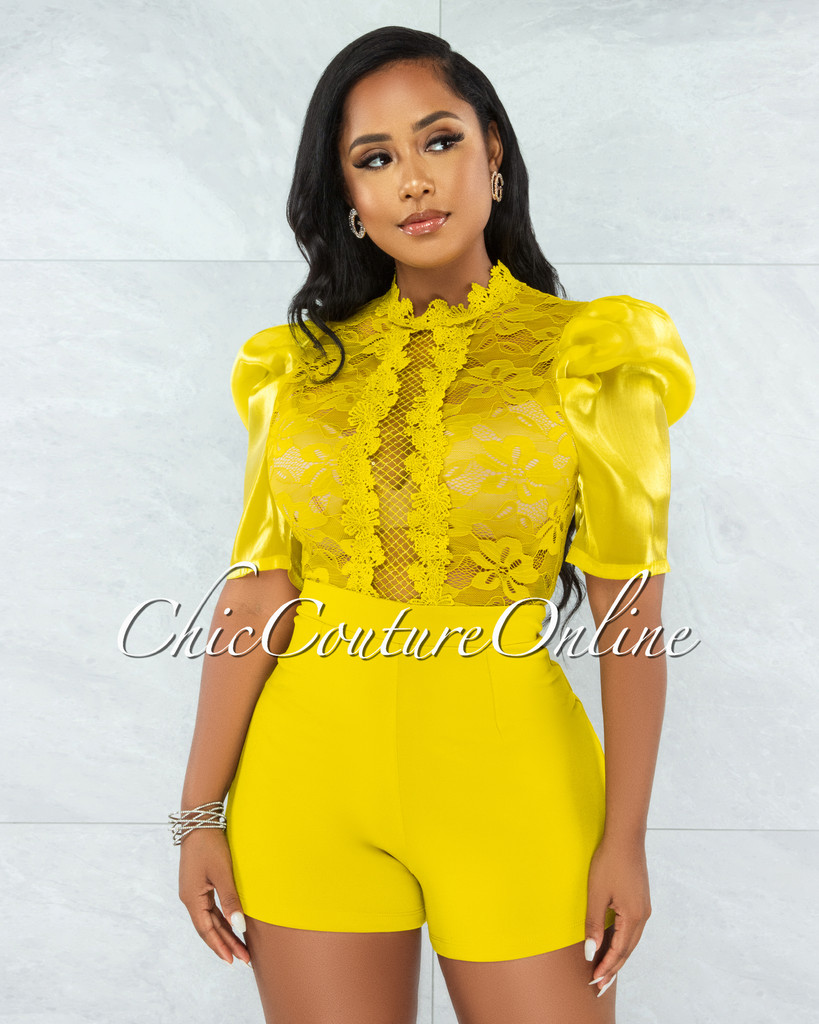 Ogenya Lime Lace Sequins Sheer Top Tulle Sleeves Romper