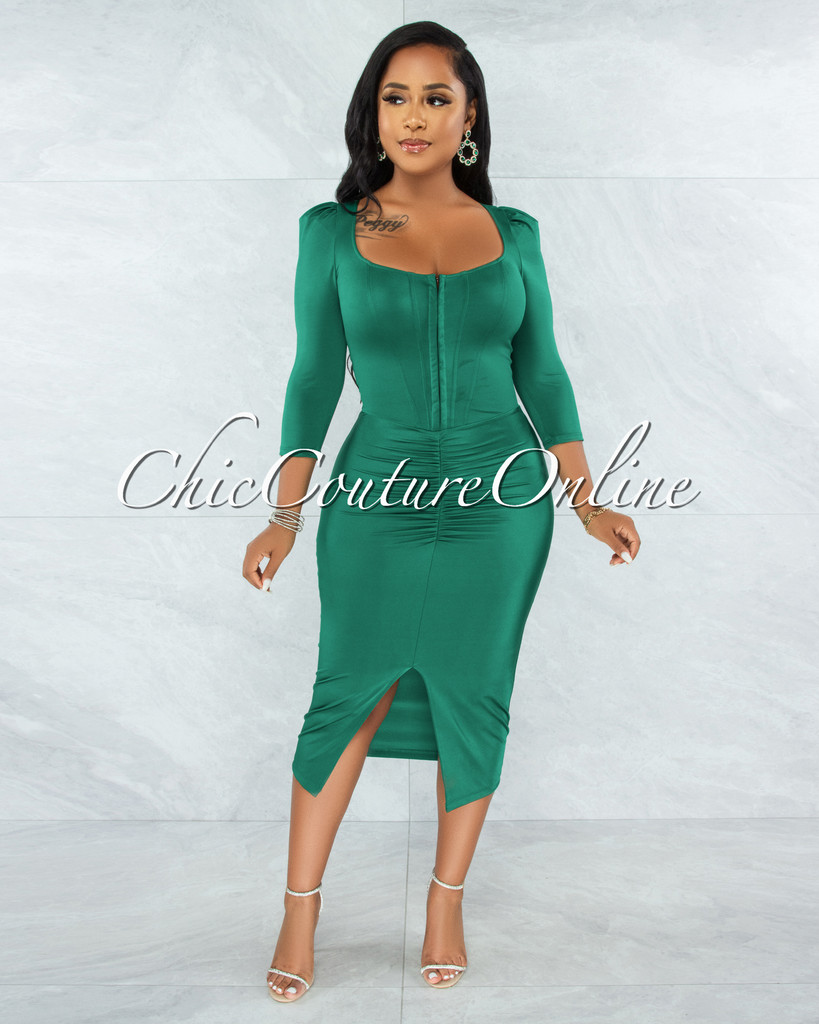 Odiya Emerald Green Corset Style Satin Midi Dress