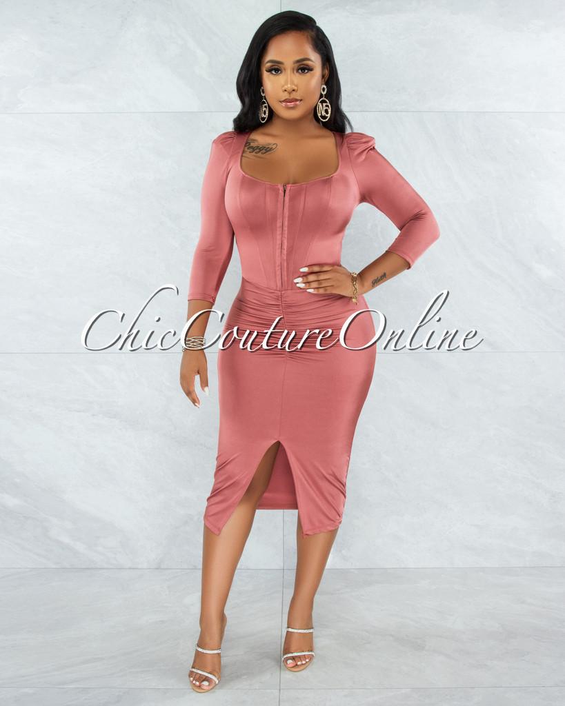 Odiya Thulian Pink Corset Style Satin Midi Dress
