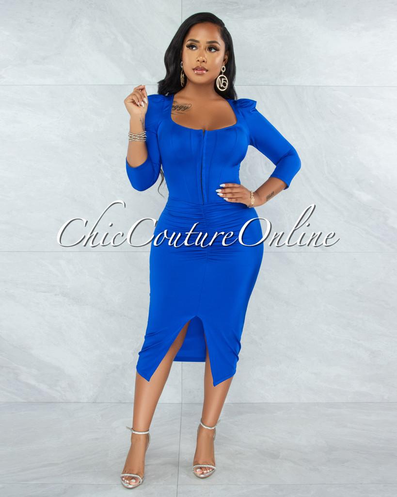 Odiya Royal Blue Corset Style Satin Midi Dress