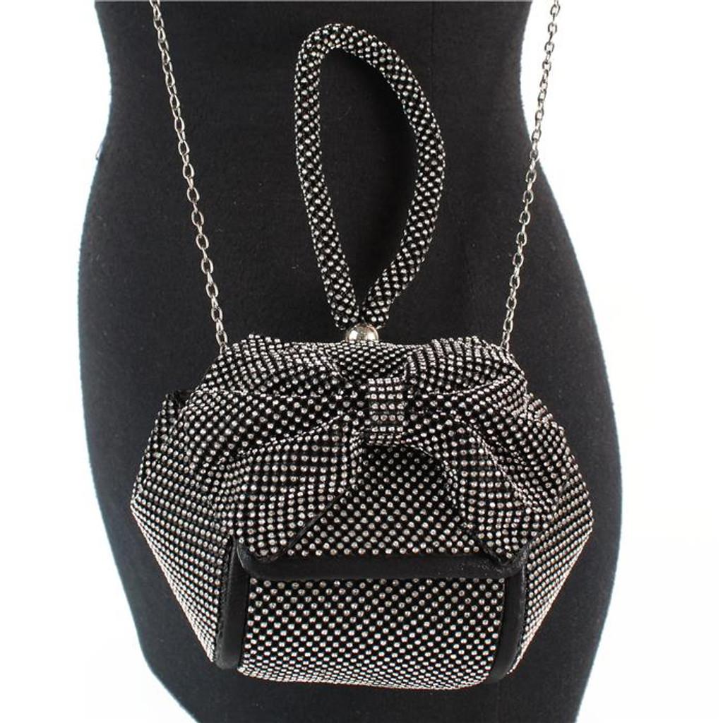 Sammie Black Rhinestones Clutch Bag