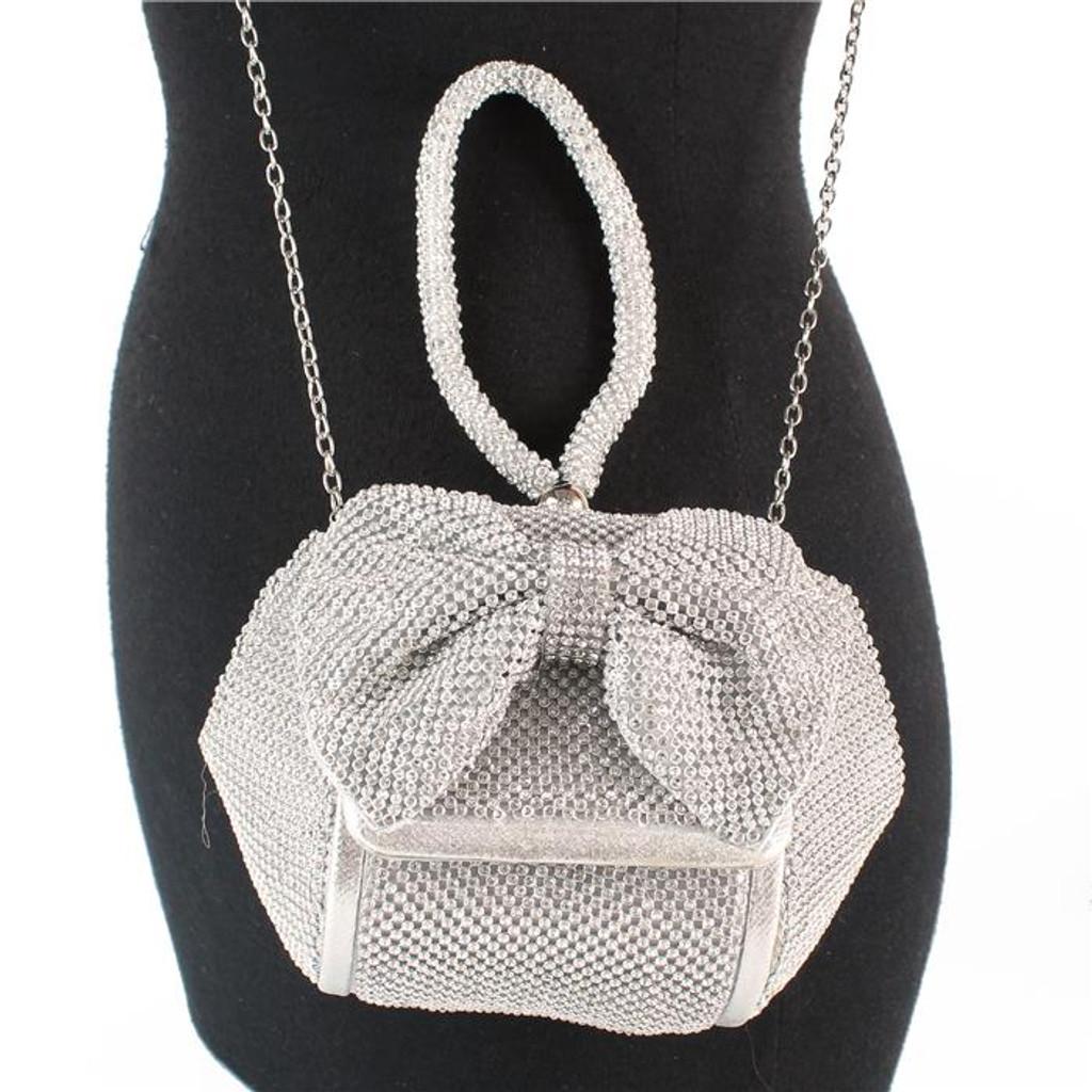 Sammie Silver Rhinestones Clutch Bag