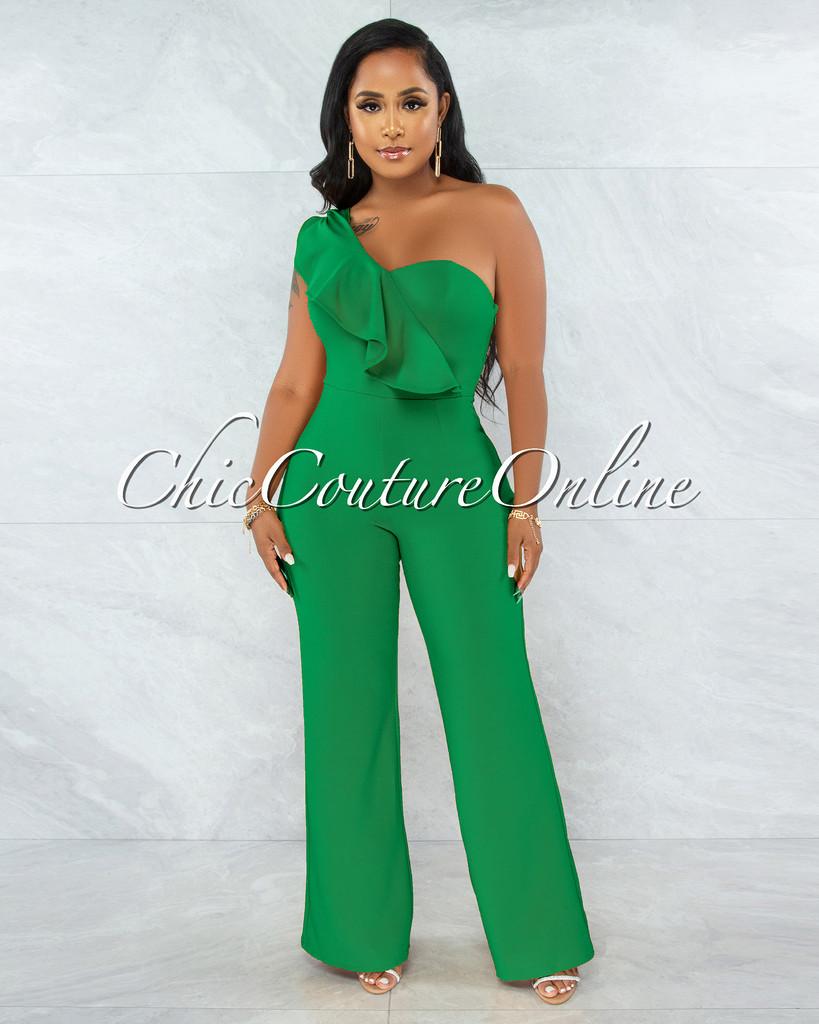 Zita Kelly Green Single Shoulder Ruffle Jumpsuit
