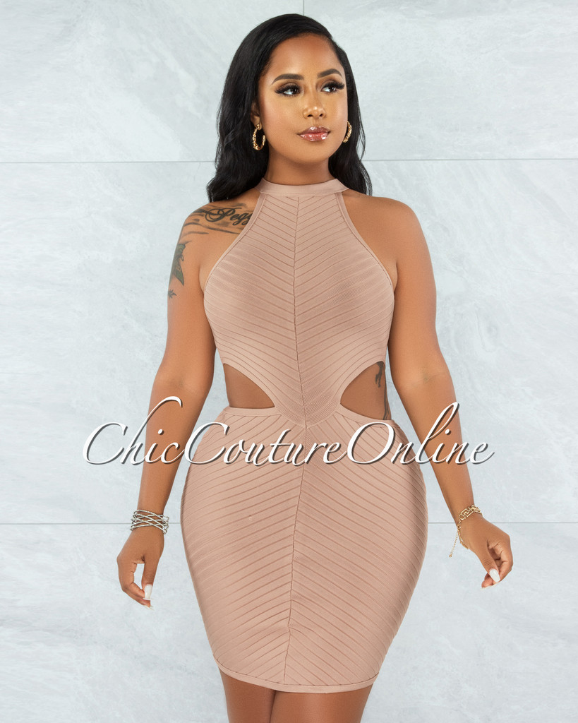 Devland Nude Ribbed Racer Cut-Out Waist Bandage Dress