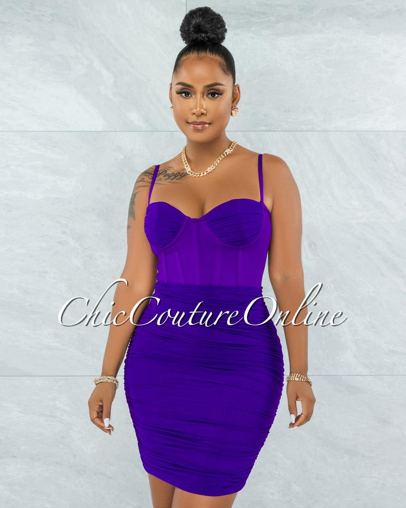 Bassett Purple Mesh Ruched Bandage Corset Dress
