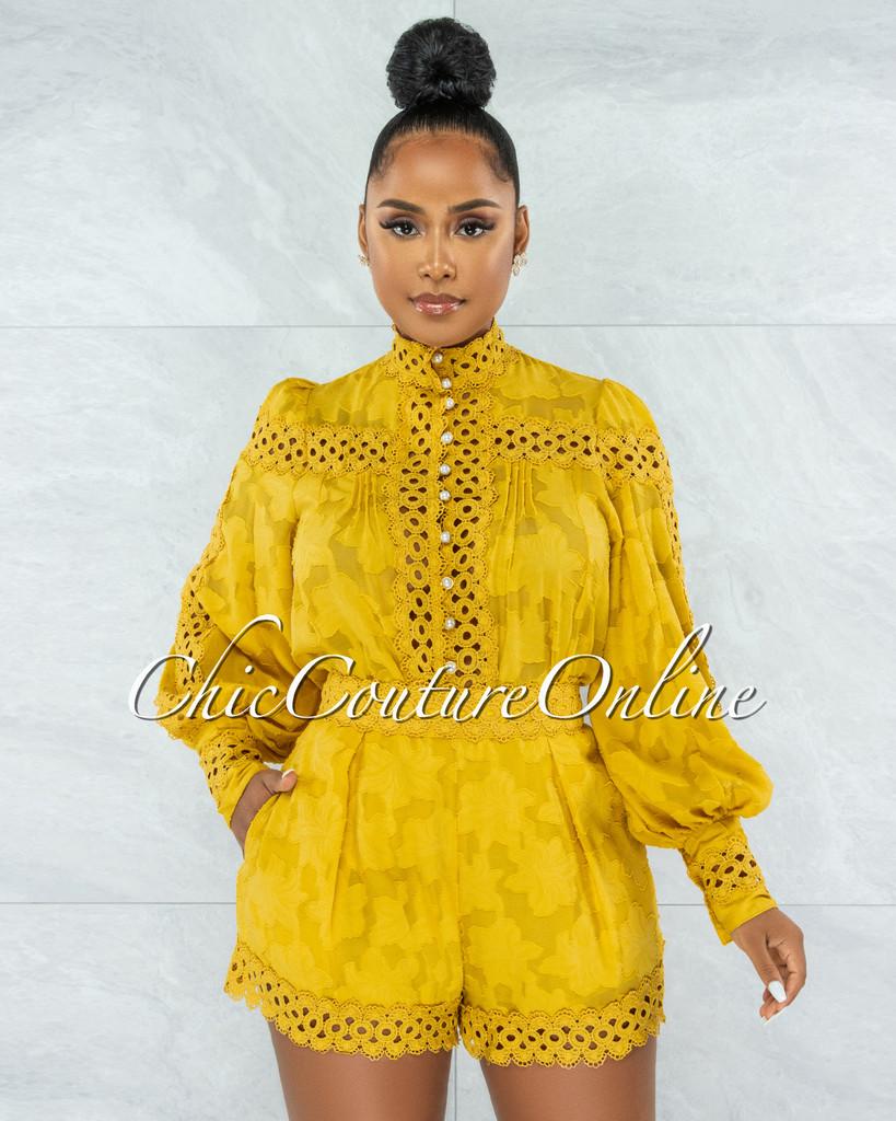 Bansuri Mustard Crochet Pearl Sheer Blouse & Shorts Set