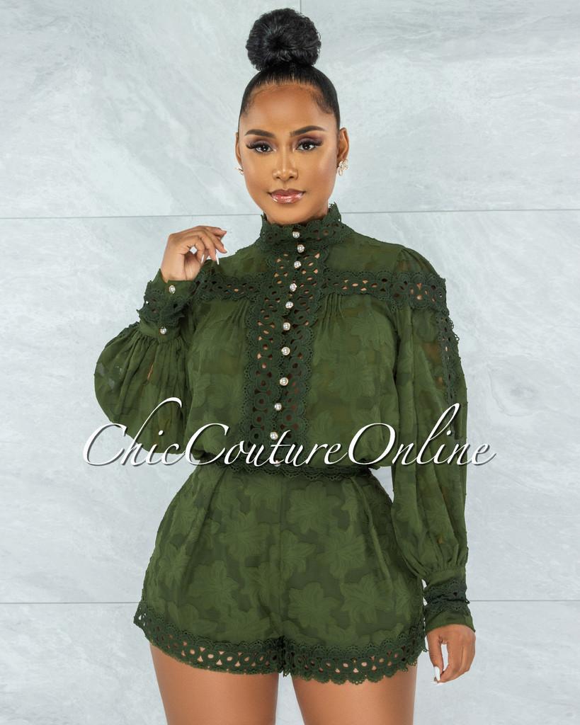 Bansuri Olive Crochet Pearl Sheer Blouse & Shorts Set